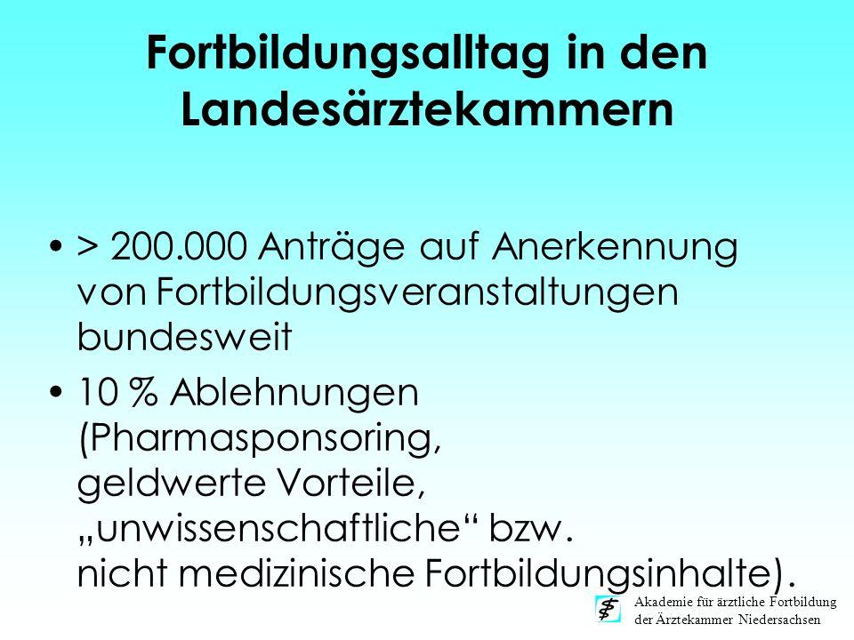 Akademie für ärztliche Fortbildung der Ärztekammer Niedersachsen Fortbildungsalltag in den Landesärztekammern > 200.000 Anträge auf Anerkennung von Fo