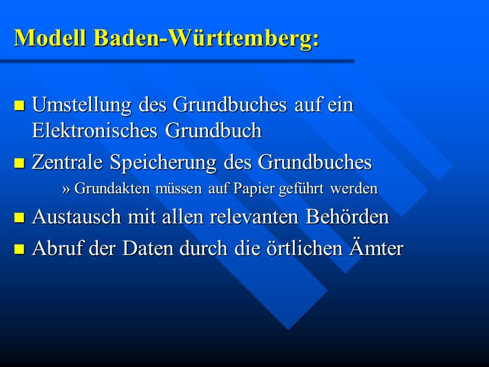 Modell Baden-Württemberg: Umstellung des Grundbuches auf ein Elektronisches Grundbuch Umstellung des Grundbuches auf ein Elektronisches Grundbuch Zent