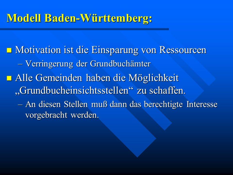 Modell Baden-Württemberg: Motivation ist die Einsparung von Ressourcen Motivation ist die Einsparung von Ressourcen –Verringerung der Grundbuchämter A