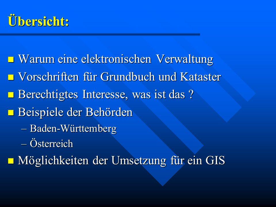 Modell Baden-Württemberg: Motivation ist die Einsparung von Ressourcen Motivation ist die Einsparung von Ressourcen –Verringerung der Grundbuchämter Alle Gemeinden haben die Möglichkeit Grundbucheinsichtsstellen zu schaffen.