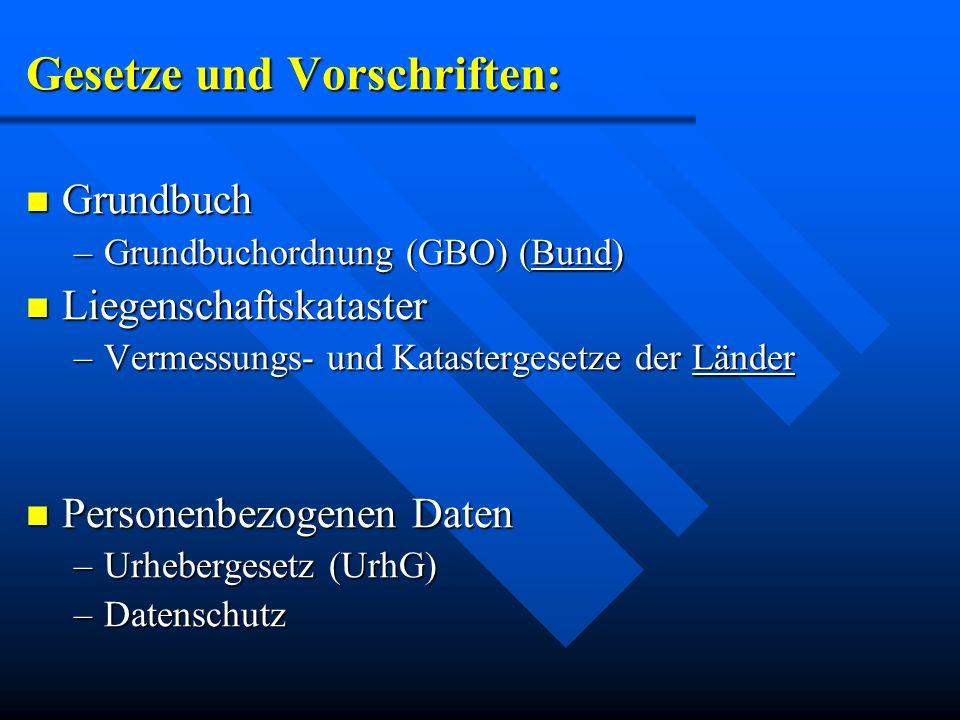 Gesetze und Vorschriften: Grundbuch Grundbuch –Grundbuchordnung (GBO) (Bund) Liegenschaftskataster Liegenschaftskataster –Vermessungs- und Katasterges