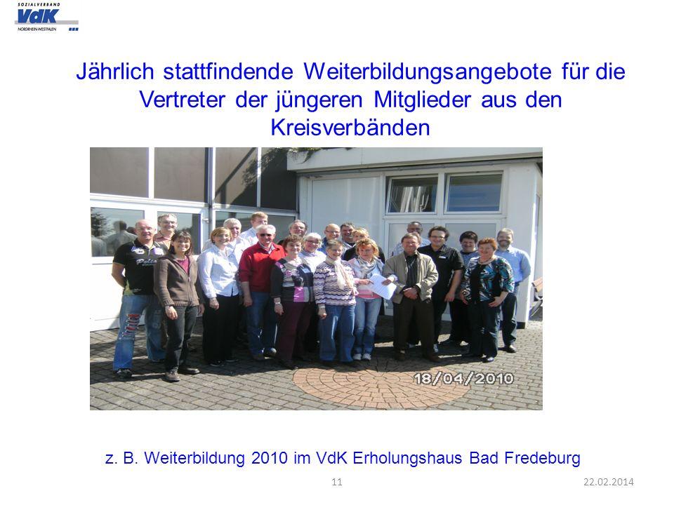 1122.02.2014 z. B. Weiterbildung 2010 im VdK Erholungshaus Bad Fredeburg Jährlich stattfindende Weiterbildungsangebote für die Vertreter der jüngeren