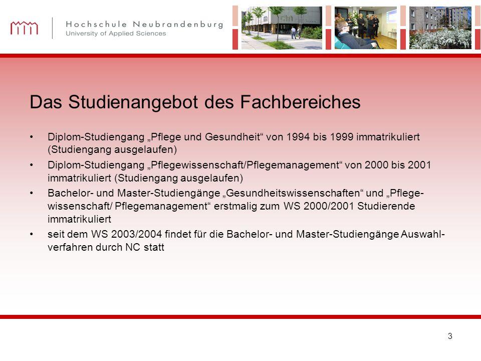 3 Diplom-Studiengang Pflege und Gesundheit von 1994 bis 1999 immatrikuliert (Studiengang ausgelaufen) Diplom-Studiengang Pflegewissenschaft/Pflegemana