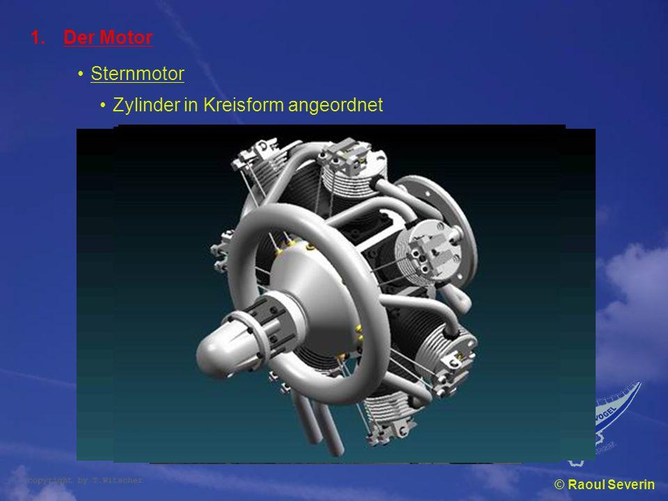 © Raoul Severin 1.Der Motor Sternmotor Zylinder in Kreisform angeordnet
