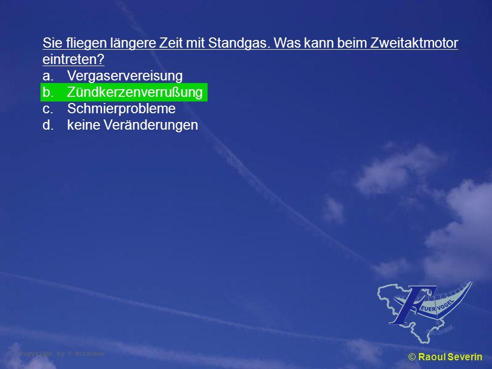 © Raoul Severin Sie fliegen längere Zeit mit Standgas. Was kann beim Zweitaktmotor eintreten? a.Vergaservereisung b.Zündkerzenverrußung c.Schmierprobl