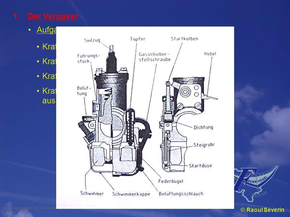 © Raoul Severin 1.Der Vergaser Aufgaben Kraftstoff zuführen Kraftstoff zerstäuben Kraftstoff mit Luft mischen Kraftstoff-Luft-Gemisch in ausreichender