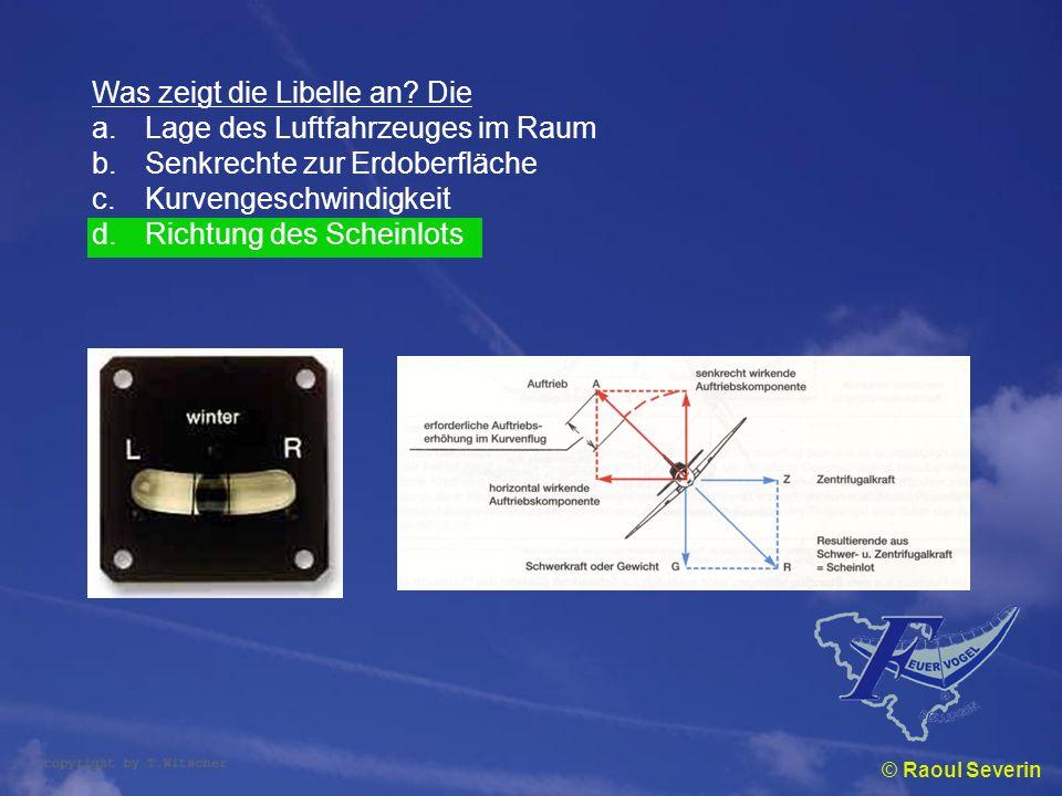 © Raoul Severin Was zeigt die Libelle an? Die a.Lage des Luftfahrzeuges im Raum b.Senkrechte zur Erdoberfläche c.Kurvengeschwindigkeit d.Richtung des