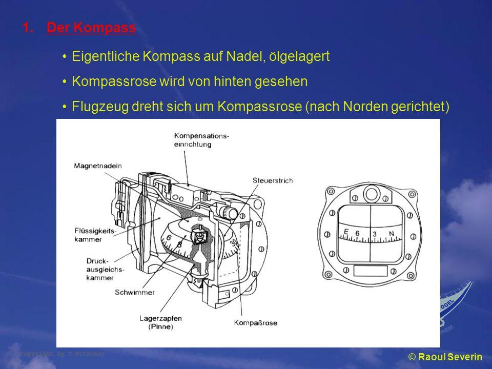 © Raoul Severin 1.Der Kompass Eigentliche Kompass auf Nadel, ölgelagert Kompassrose wird von hinten gesehen Flugzeug dreht sich um Kompassrose (nach N