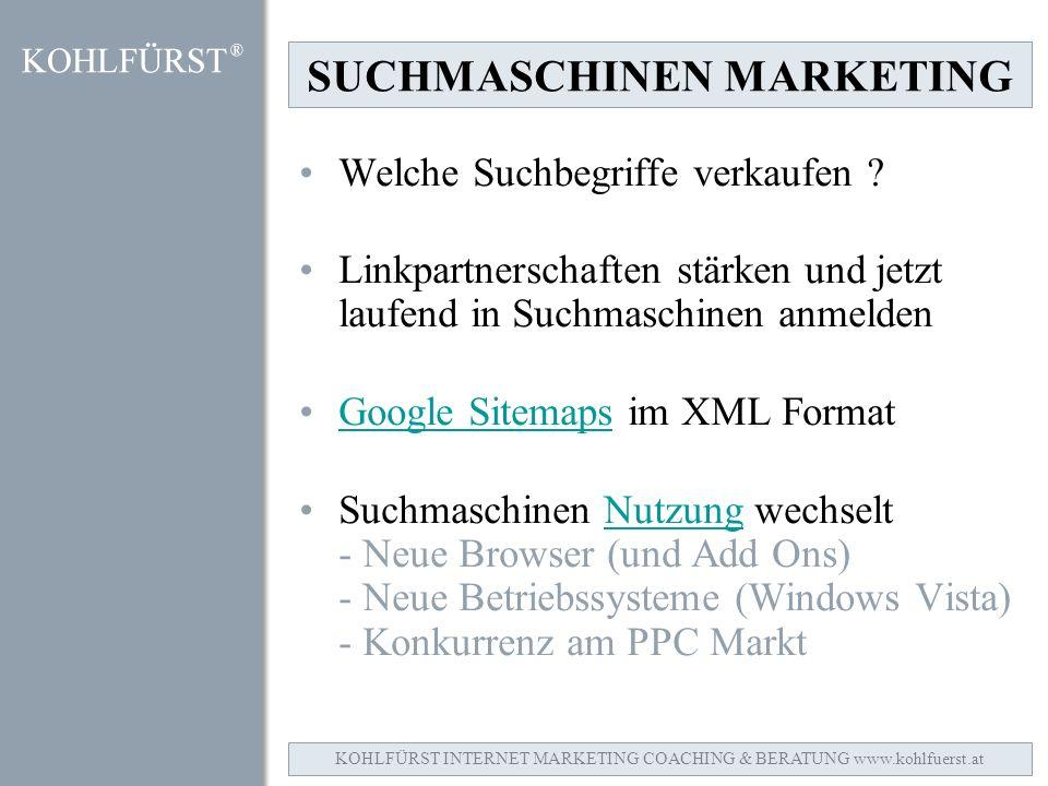 SUCHMASCHINEN MARKETING Welche Suchbegriffe verkaufen .