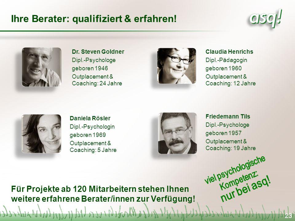 Ihre Berater: qualifiziert & erfahren! Für Projekte ab 120 Mitarbeitern stehen Ihnen weitere erfahrene Berater/innen zur Verfügung! Daniela Rösler Dip