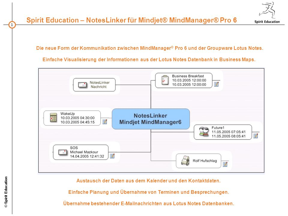 22 Spirit Education – NotesLinker für Mindjet® MindManager® Pro 6 © Spirit Education Weitere Informationen erhalten Sie durch das NotesLinker-Team: Spirit Education Adenauerallee 18-22 53113 Bonn Tel.: +49 (228) 24370-0 Fax: +49 (228) 24370-15 Email: NotesLinker@spirit-education.de http://www.spirit-education.de