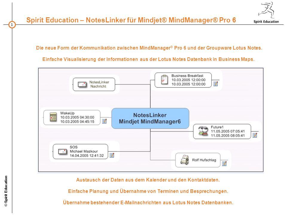 1 Spirit Education – NotesLinker für Mindjet® MindManager® Pro 6 © Spirit Education Die neue Form der Kommunikation zwischen MindManager ® Pro 6 und der Groupware Lotus Notes.