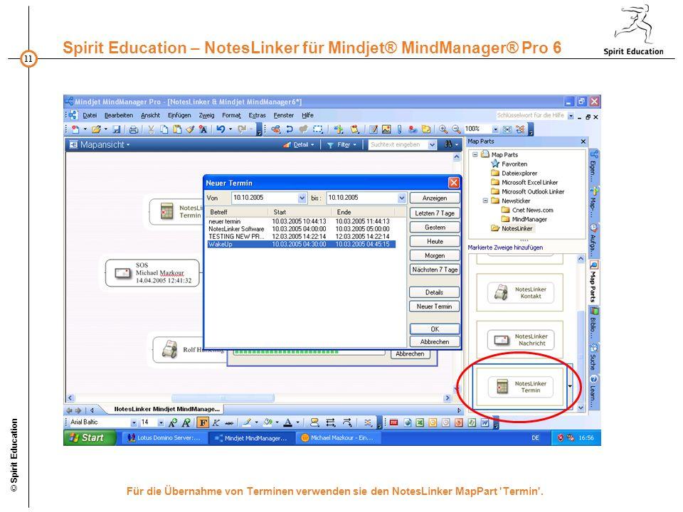 11 Spirit Education – NotesLinker für Mindjet® MindManager® Pro 6 © Spirit Education Für die Übernahme von Terminen verwenden sie den NotesLinker MapPart Termin .