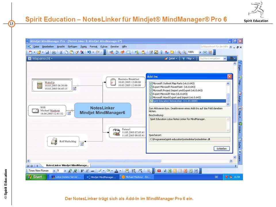 13 Spirit Education – NotesLinker für Mindjet® MindManager® Pro 6 © Spirit Education Der NotesLinker trägt sich als Add-In im MindManager Pro 6 ein.