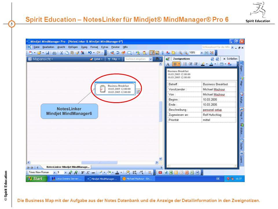 3 Spirit Education – NotesLinker für Mindjet® MindManager® Pro 6 © Spirit Education Die Business Map mit der Aufgabe aus der Notes Datenbank und die Anzeige der Detailinformation in den Zweignotizen.