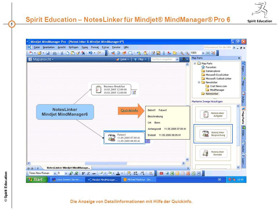 5 Spirit Education – NotesLinker für Mindjet® MindManager® Pro 6 © Spirit Education Die Anzeige von Detailinformationen mit Hilfe der Quickinfo. Quick
