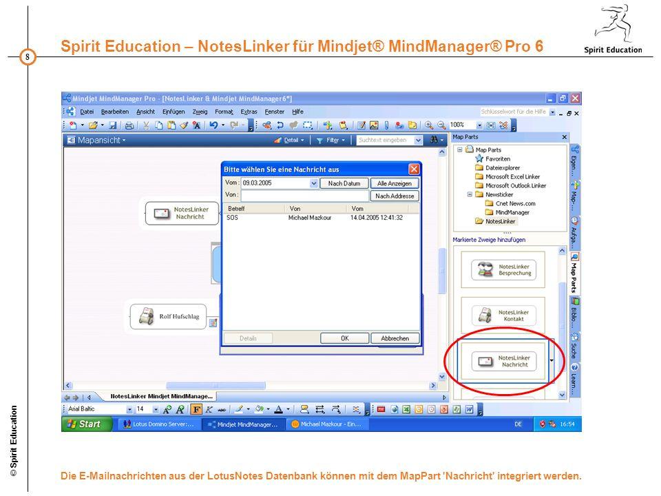 8 Spirit Education – NotesLinker für Mindjet® MindManager® Pro 6 © Spirit Education Die E-Mailnachrichten aus der LotusNotes Datenbank können mit dem MapPart Nachricht integriert werden.