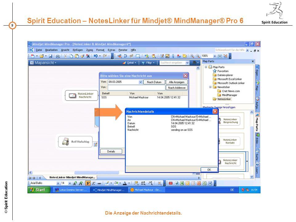 9 Spirit Education – NotesLinker für Mindjet® MindManager® Pro 6 © Spirit Education Die Anzeige der Nachrichtendetails.