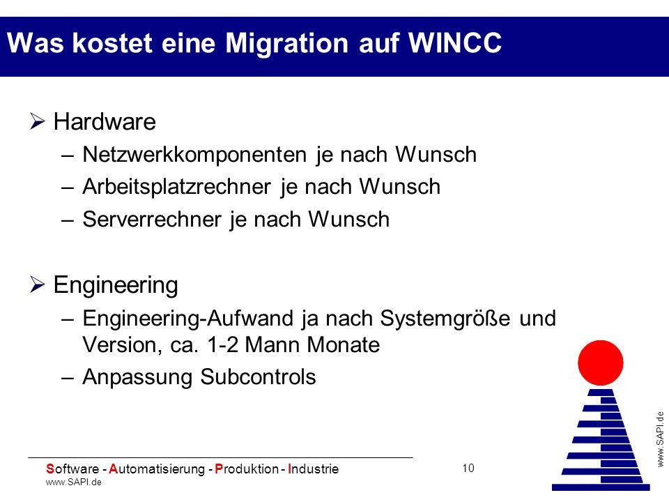 20 Software - Automatisierung - Produktion - Industrie www.SAPI.de 10 Was kostet eine Migration auf WINCC Hardware –Netzwerkkomponenten je nach Wunsch