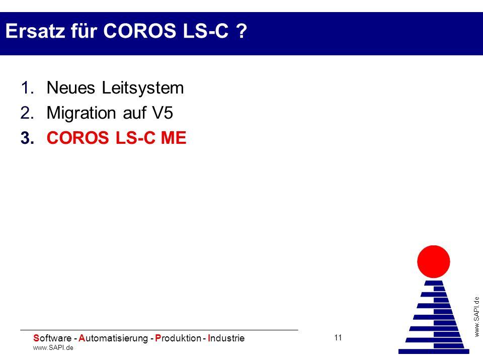 20 Software - Automatisierung - Produktion - Industrie www.SAPI.de 11 Ersatz für COROS LS-C ? 1.Neues Leitsystem 2.Migration auf V5 3.COROS LS-C ME
