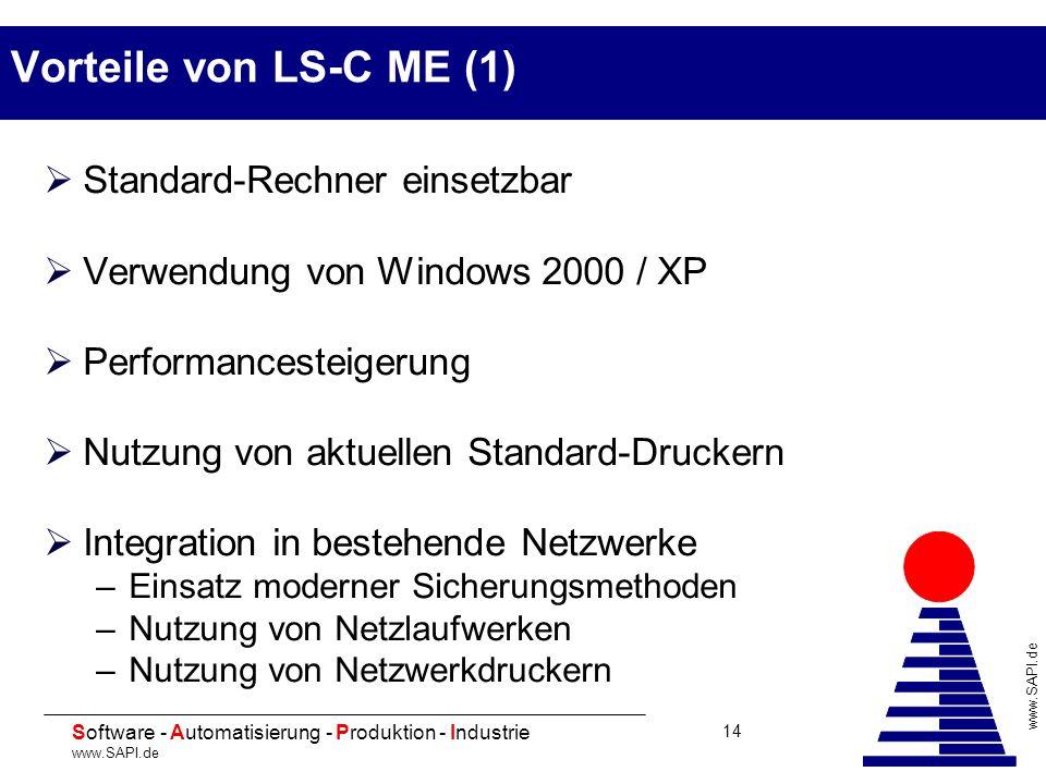 20 Software - Automatisierung - Produktion - Industrie www.SAPI.de 14 Vorteile von LS-C ME (1) Standard-Rechner einsetzbar Verwendung von Windows 2000