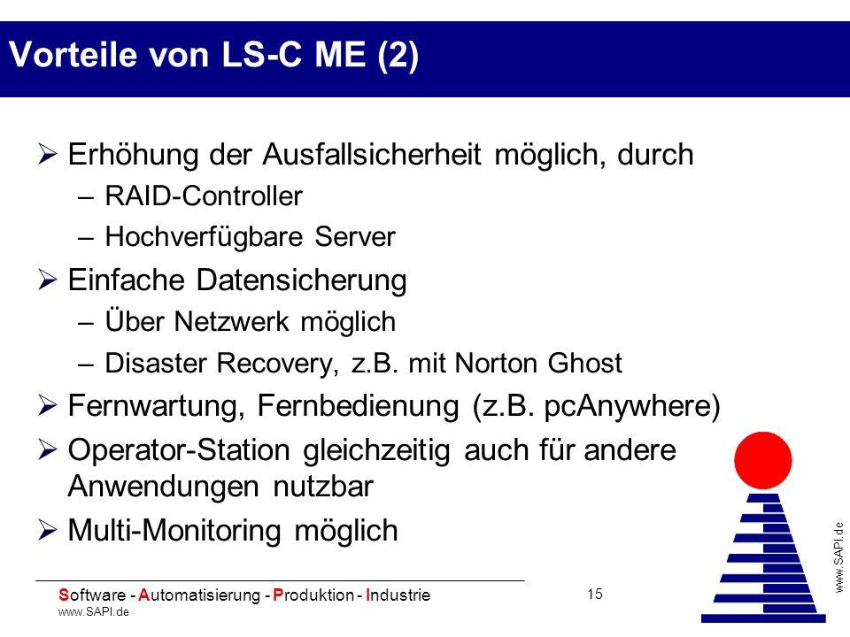 20 Software - Automatisierung - Produktion - Industrie www.SAPI.de 15 Vorteile von LS-C ME (2) Erhöhung der Ausfallsicherheit möglich, durch –RAID-Con