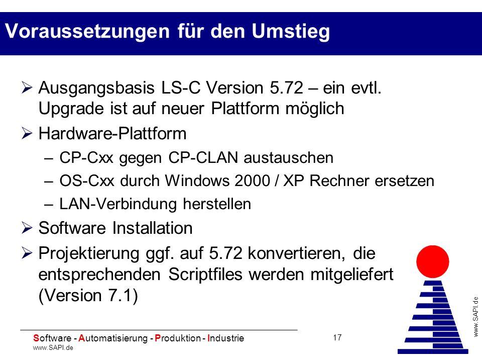 20 Software - Automatisierung - Produktion - Industrie www.SAPI.de 17 Voraussetzungen für den Umstieg Ausgangsbasis LS-C Version 5.72 – ein evtl. Upgr