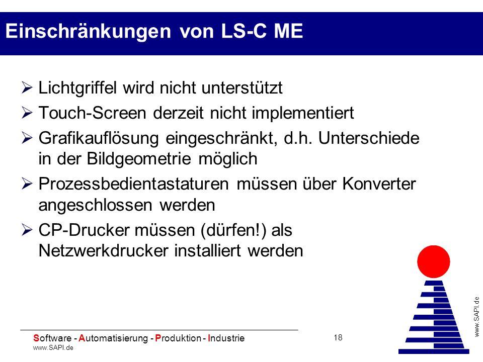 20 Software - Automatisierung - Produktion - Industrie www.SAPI.de 18 Einschränkungen von LS-C ME Lichtgriffel wird nicht unterstützt Touch-Screen der