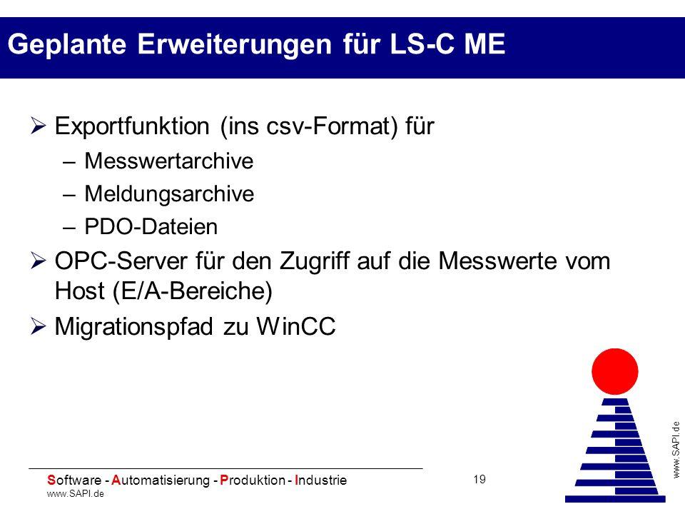 20 Software - Automatisierung - Produktion - Industrie www.SAPI.de 19 Geplante Erweiterungen für LS-C ME Exportfunktion (ins csv-Format) für –Messwert
