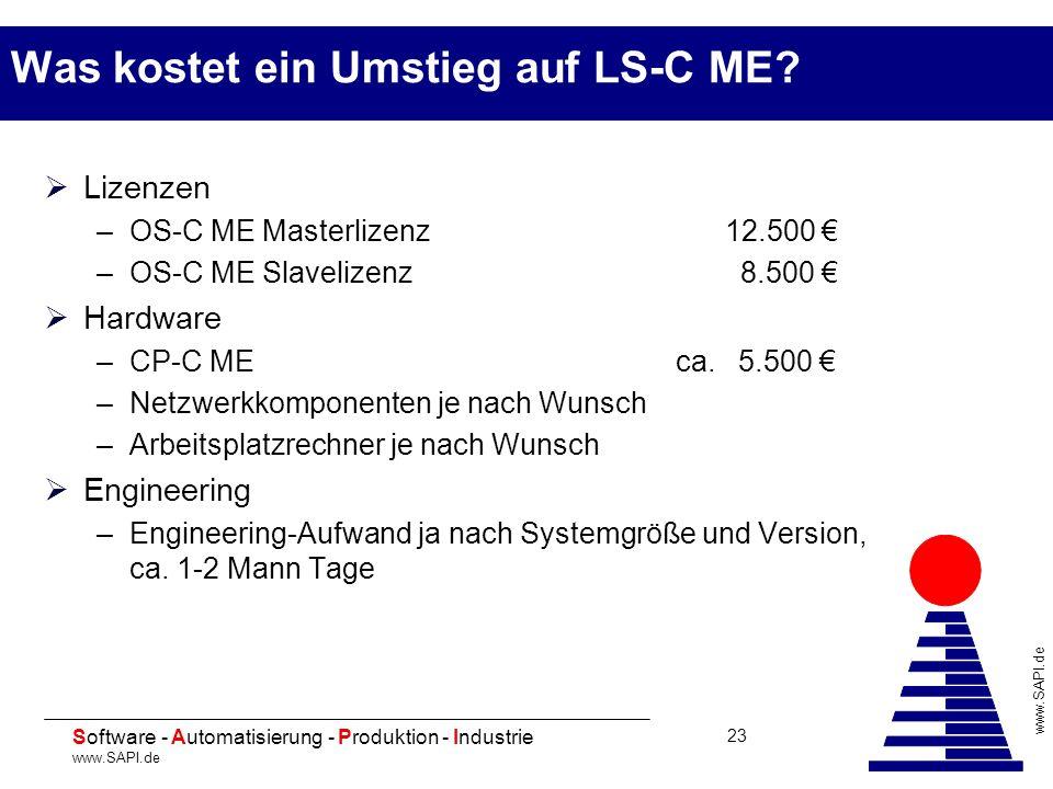 20 Software - Automatisierung - Produktion - Industrie www.SAPI.de 23 Was kostet ein Umstieg auf LS-C ME? Lizenzen –OS-C ME Masterlizenz 12.500 –OS-C