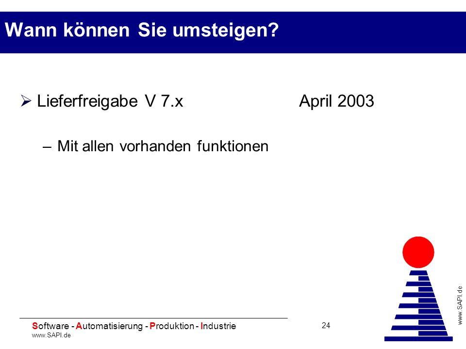 20 Software - Automatisierung - Produktion - Industrie www.SAPI.de 24 Wann können Sie umsteigen? Lieferfreigabe V 7.xApril 2003 –Mit allen vorhanden f