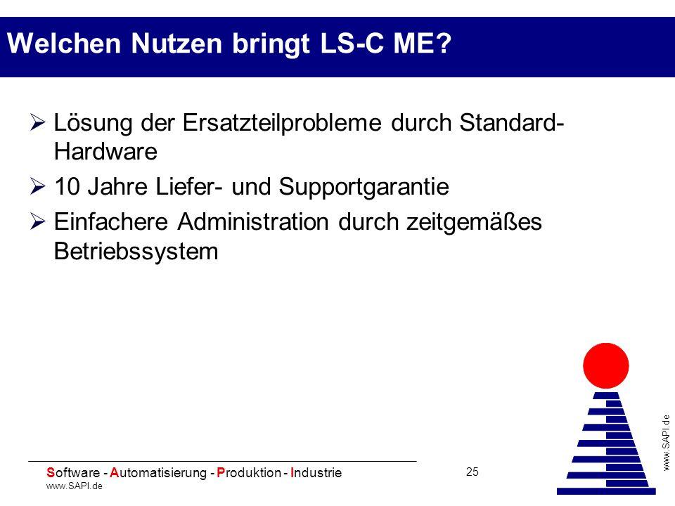 20 Software - Automatisierung - Produktion - Industrie www.SAPI.de 25 Welchen Nutzen bringt LS-C ME? Lösung der Ersatzteilprobleme durch Standard- Har