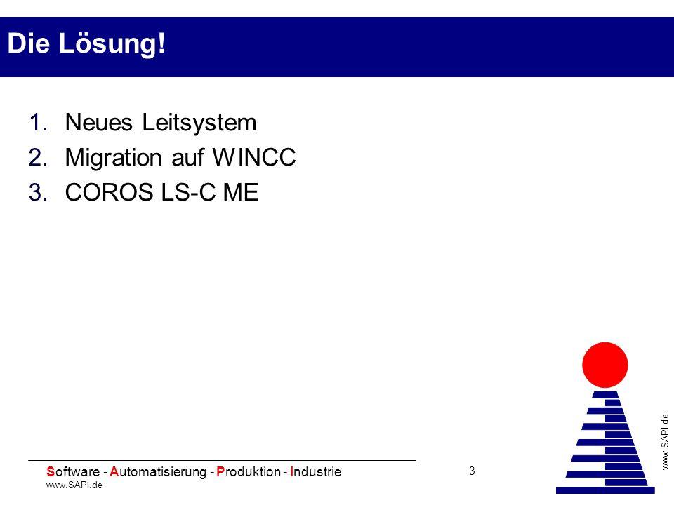 20 Software - Automatisierung - Produktion - Industrie www.SAPI.de 3 Die Lösung! 1.Neues Leitsystem 2.Migration auf WINCC 3.COROS LS-C ME