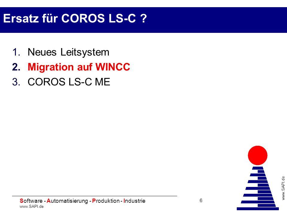 20 Software - Automatisierung - Produktion - Industrie www.SAPI.de 6 Ersatz für COROS LS-C ? 1.Neues Leitsystem 2.Migration auf WINCC 3.COROS LS-C ME