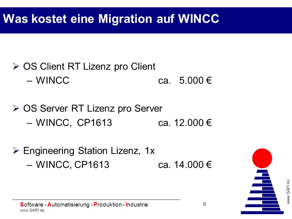 20 Software - Automatisierung - Produktion - Industrie www.SAPI.de 9 Was kostet eine Migration auf WINCC OS Client RT Lizenz pro Client –WINCC ca. 5.0