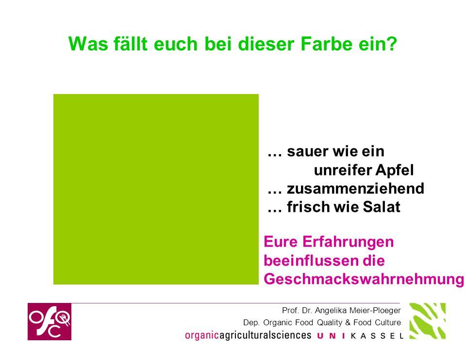 Prof. Dr. Angelika Meier-Ploeger Dep. Organic Food Quality & Food Culture Was fällt euch bei dieser Farbe ein? … sauer wie ein unreifer Apfel … zusamm