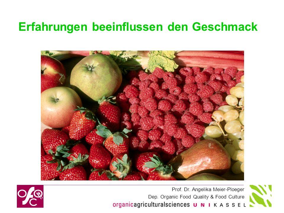Prof. Dr. Angelika Meier-Ploeger Dep. Organic Food Quality & Food Culture Erfahrungen beeinflussen den Geschmack