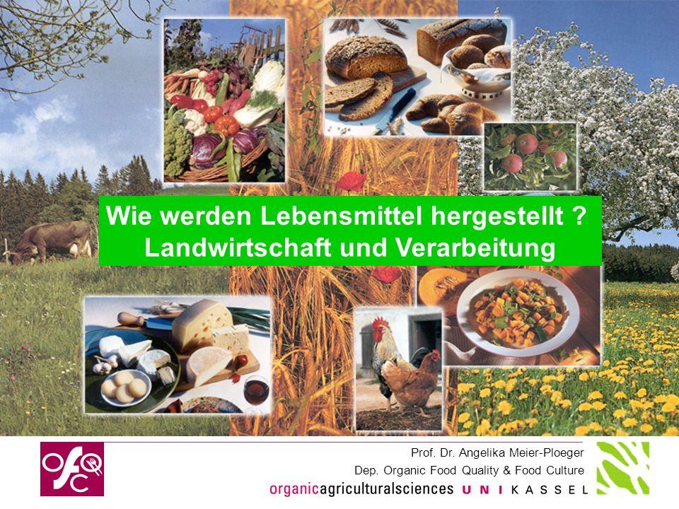 Prof. Dr. Angelika Meier-Ploeger Dep. Organic Food Quality & Food Culture Wie werden Lebensmittel hergestellt ? Landwirtschaft und Verarbeitung