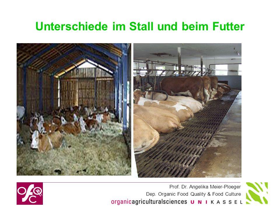 Prof. Dr. Angelika Meier-Ploeger Dep. Organic Food Quality & Food Culture Unterschiede im Stall und beim Futter