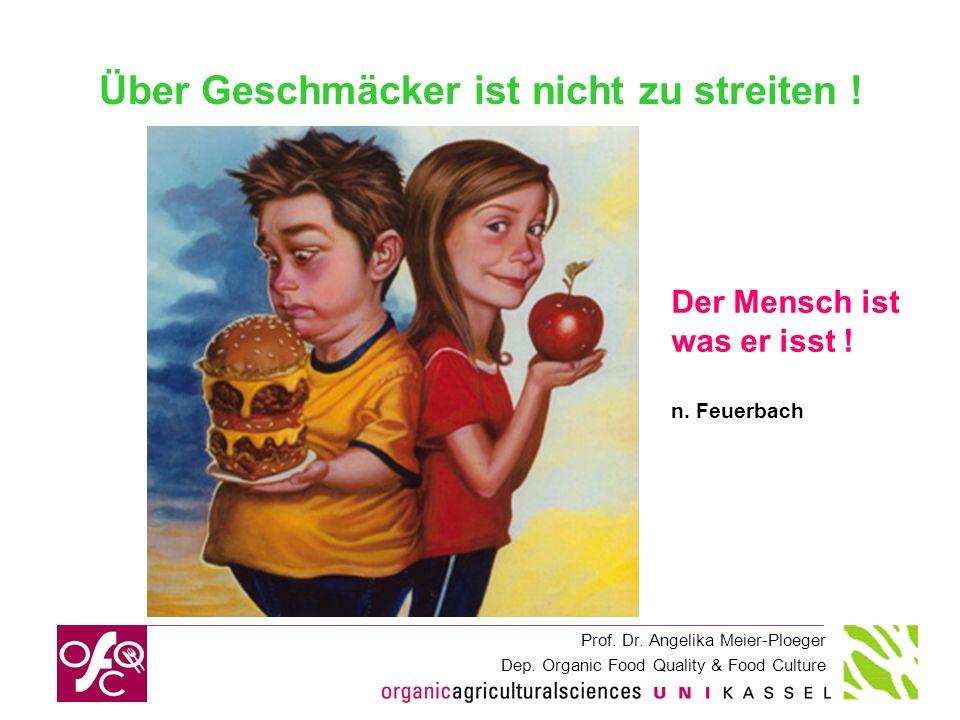 Prof. Dr. Angelika Meier-Ploeger Dep. Organic Food Quality & Food Culture Über Geschmäcker ist nicht zu streiten ! Der Mensch ist was er isst ! n. Feu