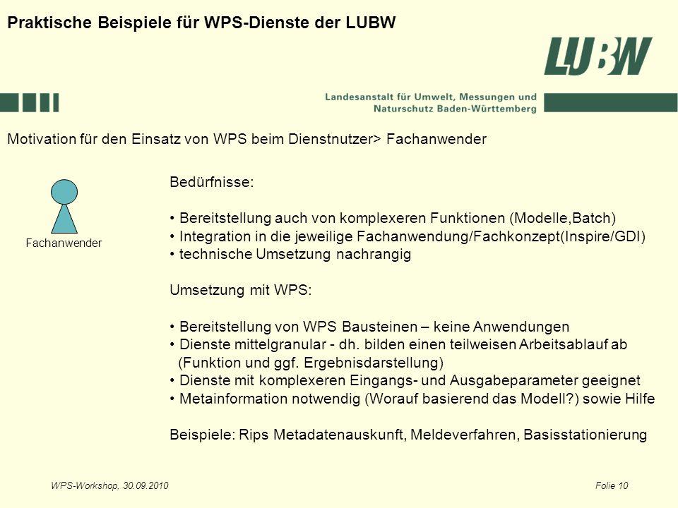 WPS-Workshop, 30.09.2010Folie 10 Fachanwender Motivation für den Einsatz von WPS beim Dienstnutzer> Fachanwender Praktische Beispiele für WPS-Dienste