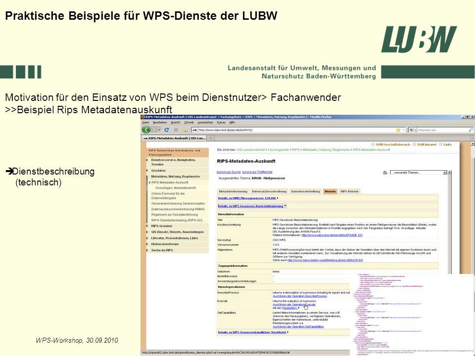 WPS-Workshop, 30.09.2010Folie 14 Motivation für den Einsatz von WPS beim Dienstnutzer> Fachanwender >>Beispiel Rips Metadatenauskunft Praktische Beisp