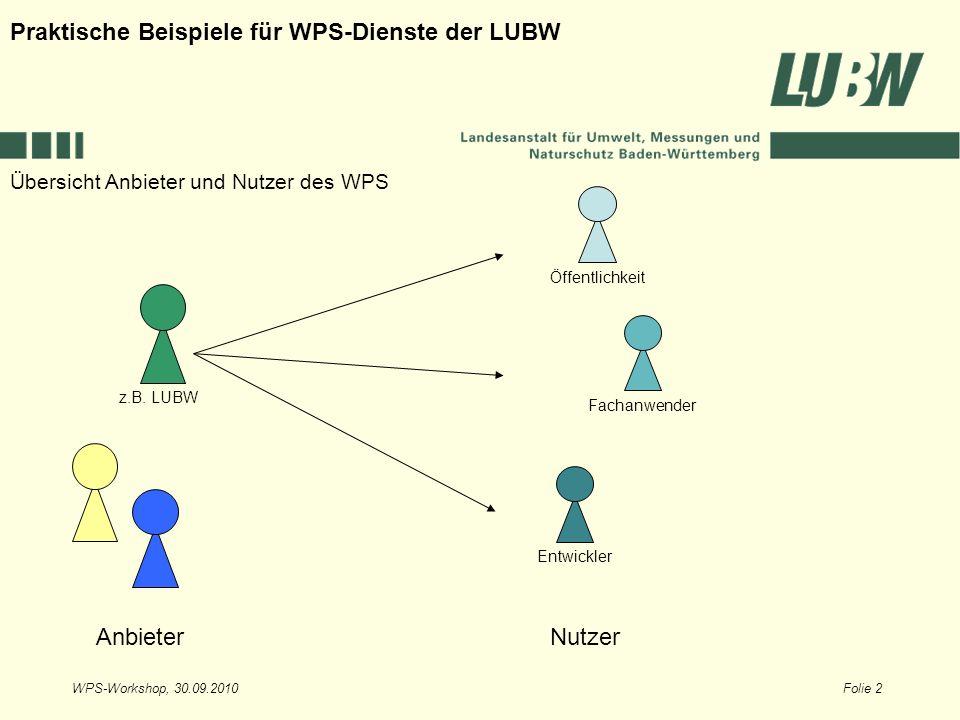 WPS-Workshop, 30.09.2010Folie 2 Übersicht Anbieter und Nutzer des WPS Praktische Beispiele für WPS-Dienste der LUBW AnbieterNutzer Öffentlichkeit Fach
