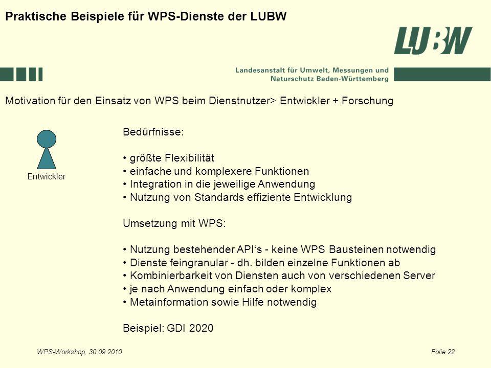WPS-Workshop, 30.09.2010Folie 22 Entwickler Motivation für den Einsatz von WPS beim Dienstnutzer> Entwickler + Forschung Praktische Beispiele für WPS-