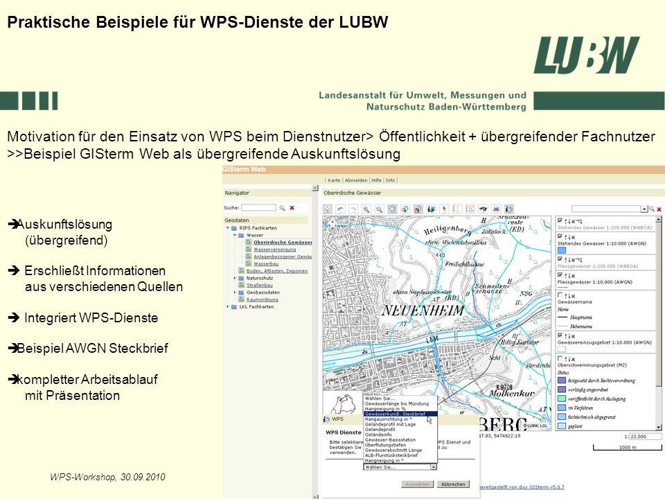 WPS-Workshop, 30.09.2010Folie 6 Motivation für den Einsatz von WPS beim Dienstnutzer> Öffentlichkeit + übergreifender Fachnutzer >>Beispiel GISterm We