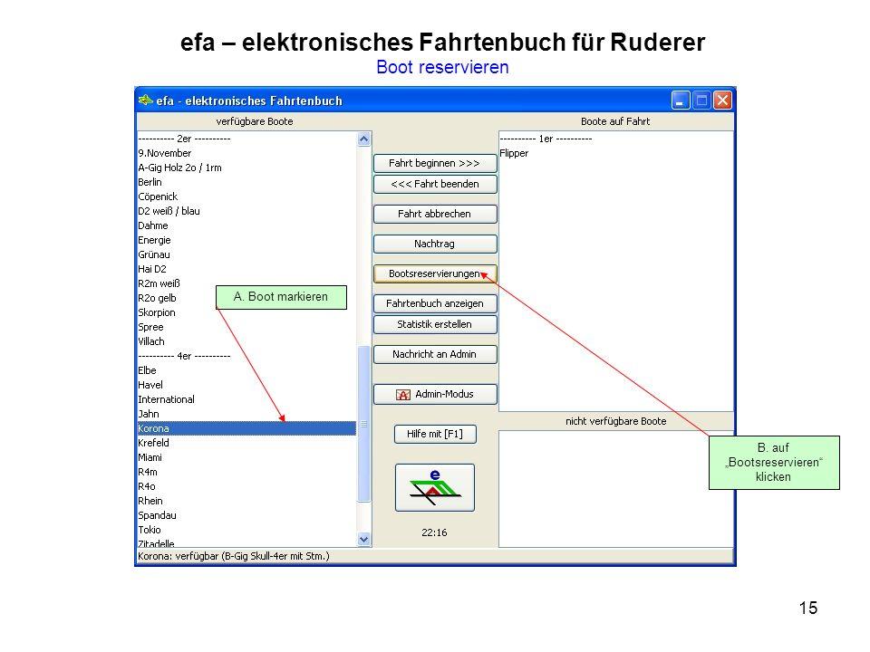 15 efa – elektronisches Fahrtenbuch für Ruderer Boot reservieren B.