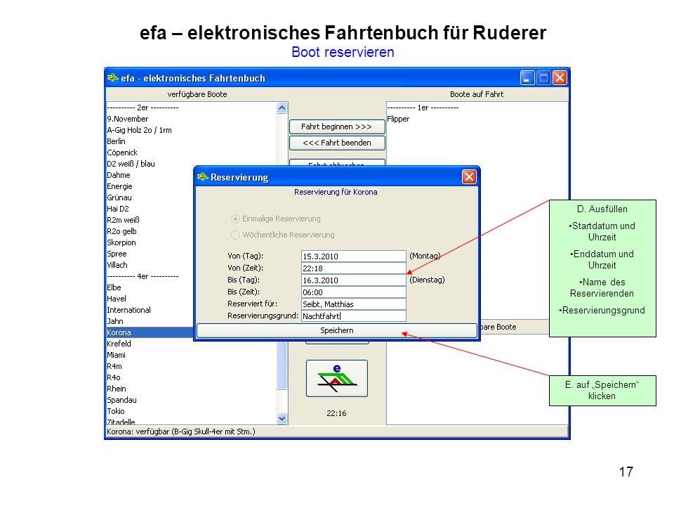 17 efa – elektronisches Fahrtenbuch für Ruderer Boot reservieren D.