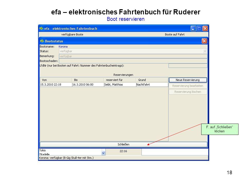 18 efa – elektronisches Fahrtenbuch für Ruderer Boot reservieren F. auf Schließen klicken