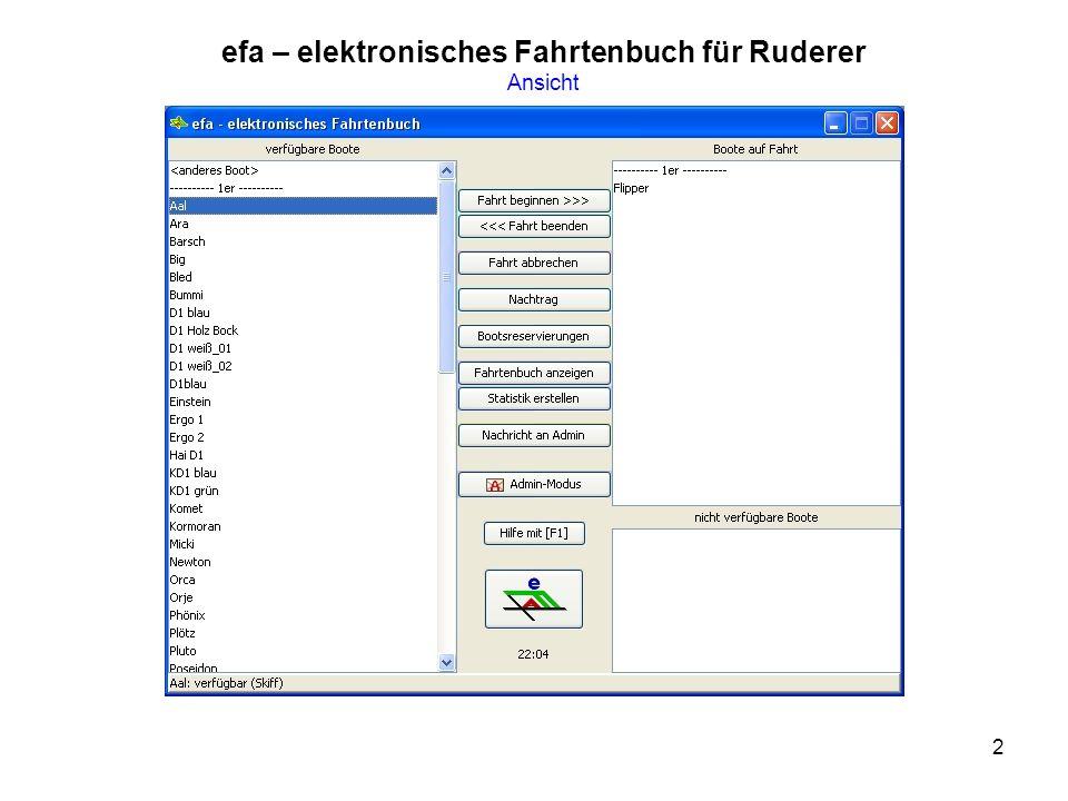 2 efa – elektronisches Fahrtenbuch für Ruderer Ansicht