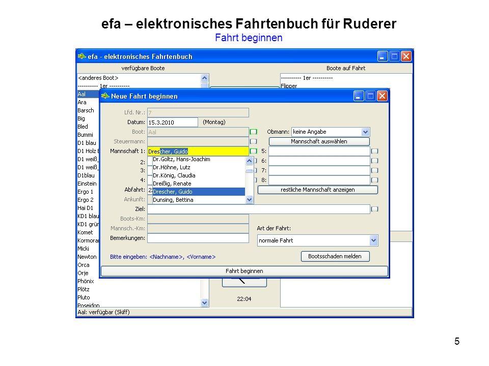 5 efa – elektronisches Fahrtenbuch für Ruderer Fahrt beginnen